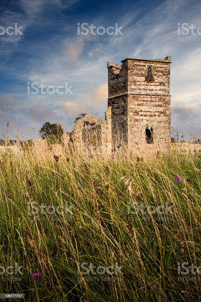 Old Ancient Norman Church in Middle of Field stock photo