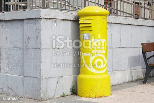 istock Old and a little rusty mailbox of Correos España. 644876852