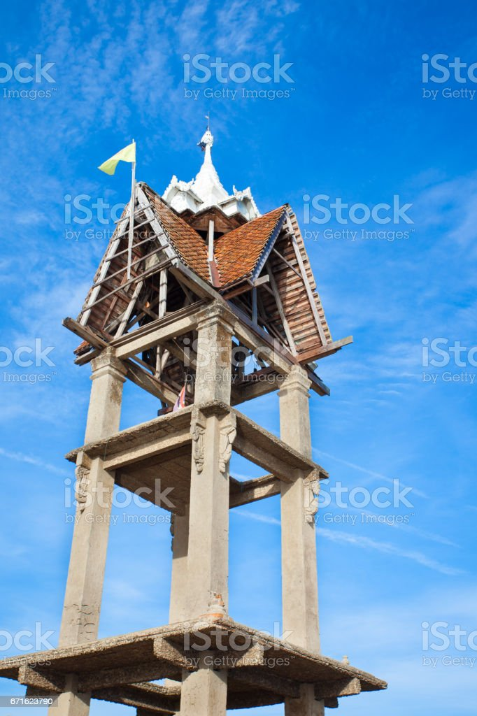Old and Abandoned temple with blue sky. stock photo