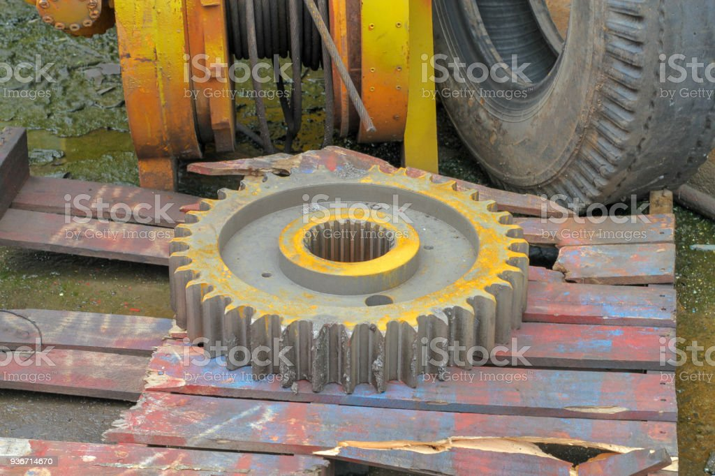 Old and damage gear of machine truck vehicle stock photo