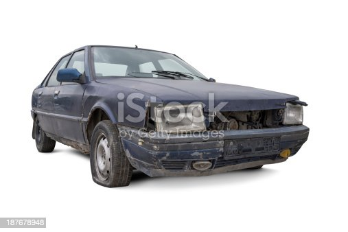 istock Old and Damaged Car 187678948