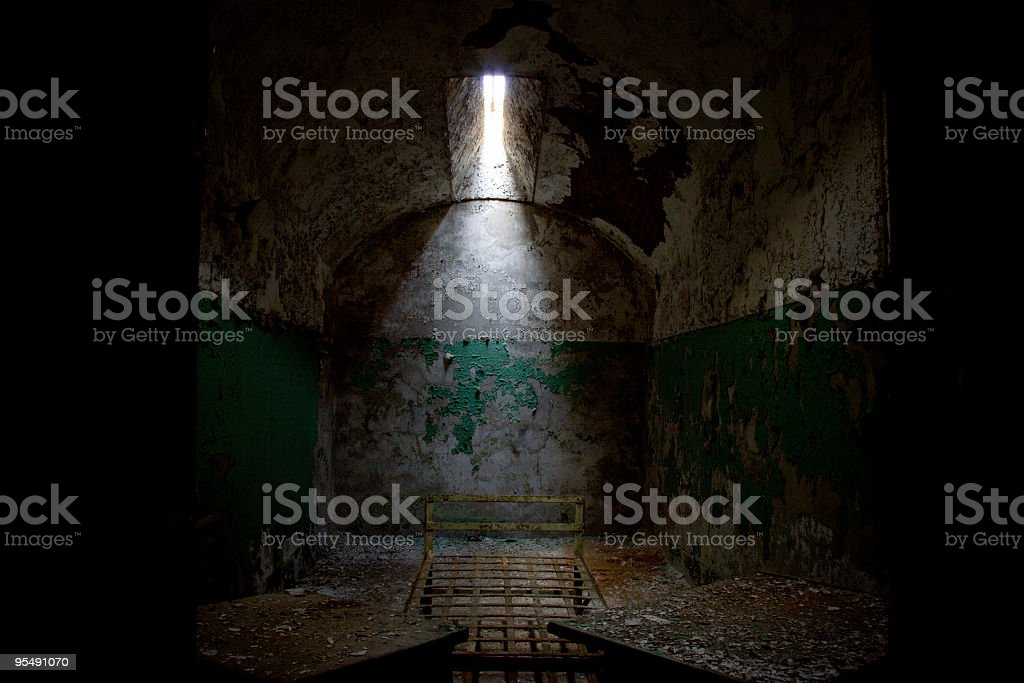Old and Dark Abandoned Cell in Prison stock photo
