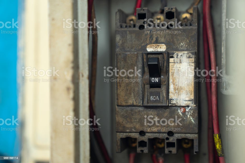 old and dirty breakers switch in electric box circuit breakers rh istockphoto com