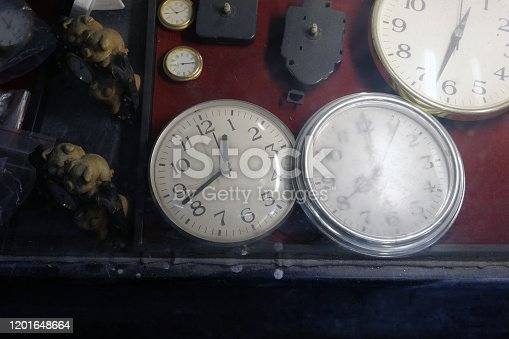 671883446 istock photo Old and dirty clocks in a watchmaker's showcase. 1201648664
