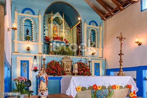 Old and historic altar inside an 18th century Christian chapel in Lagoa Santa, Minas Gerais, Brazil