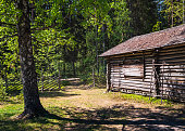 istock Old and idyllic abandoned timber cottage at summer day in Finland 973112304