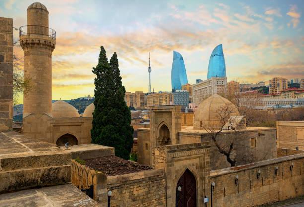 Old and modern architecture in Baku city, Azerbaijan stock photo