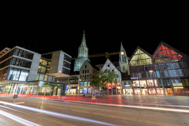 Old and Modern Architecture in Ulm, Germany Old and Modern Architecture in Ulm, Ulm Minster in the Background, Baden-Wurttemberg, Germany, HDR imaging ulm stock pictures, royalty-free photos & images
