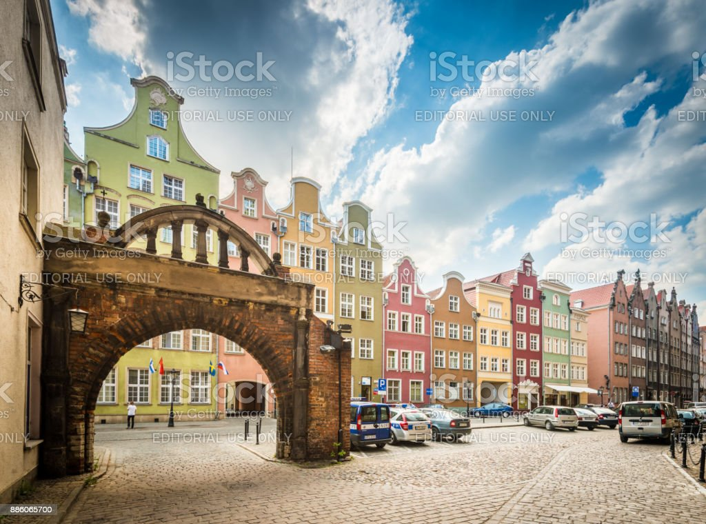 Old and narrow houses in street of Gdansk, Poland stock photo