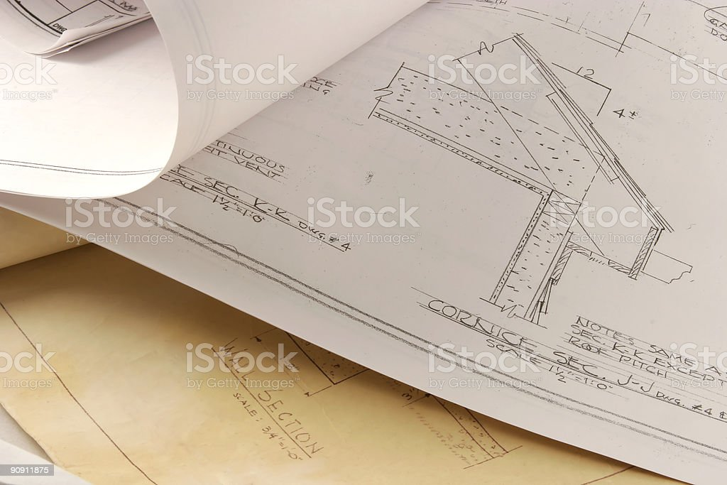 old and new architectural plans royalty-free stock photo