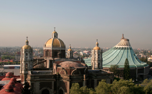 Old And New Basilica De Guadalupe Stock Photo - Download Image Now