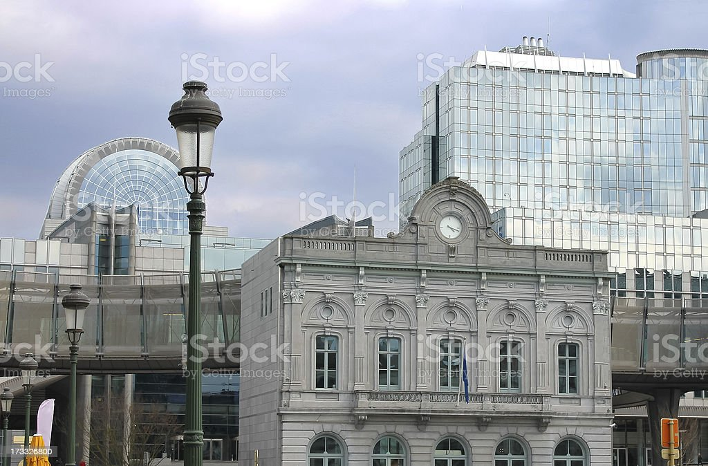 Old and new buildings of European Parliament in Brussels. Belgiu stock photo