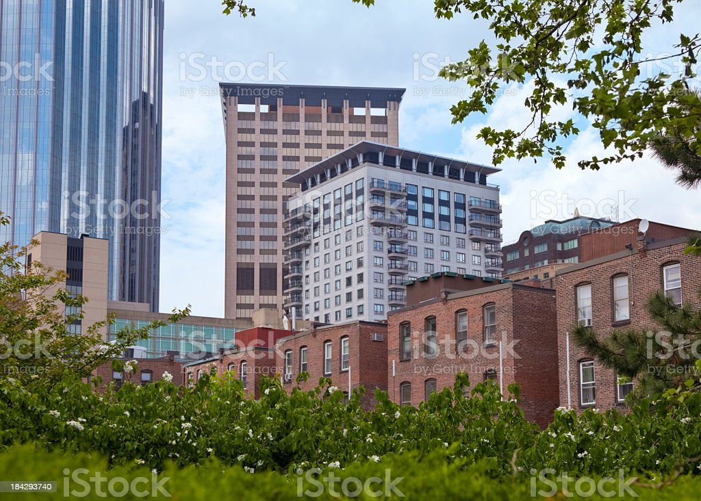 Old and New Buildings With Lush Green Foliage in Foreground stock photo