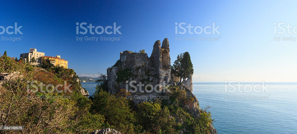 Old and new castle, Duino stock photo