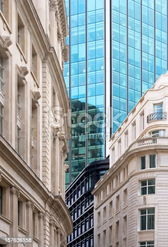 a composition of old and new city buildings in the heart of the Financial Centre of the City of London. This image can depict the harmonious blend of old and new City Architecture.