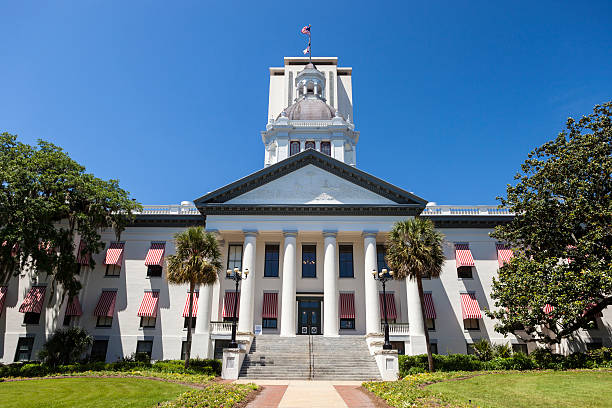 Old And New Florida State Capitol Buildings In Tallahassee stock photo