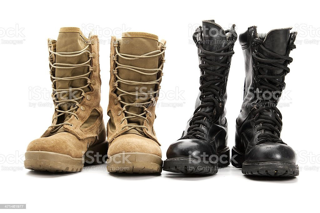 Old and New School Combat Boots stock photo