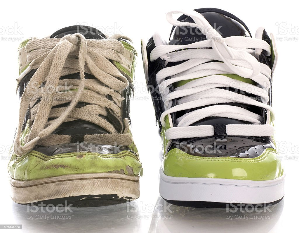 old and new shoes stock photo