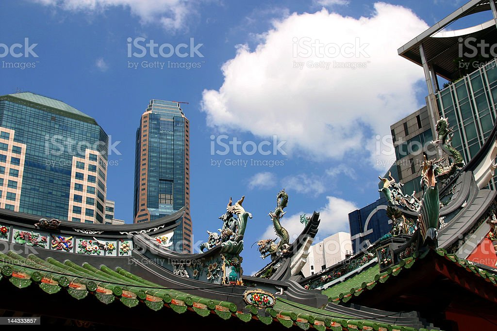 Old and New Singapore royalty-free stock photo