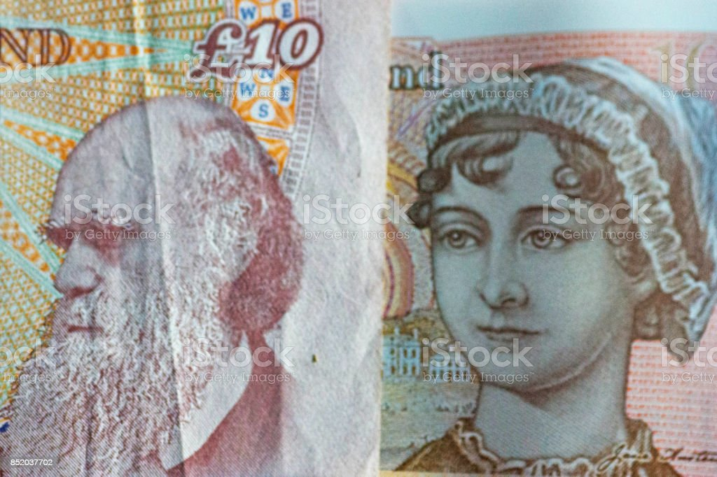 Old and New ten pound note released 2017 stock photo