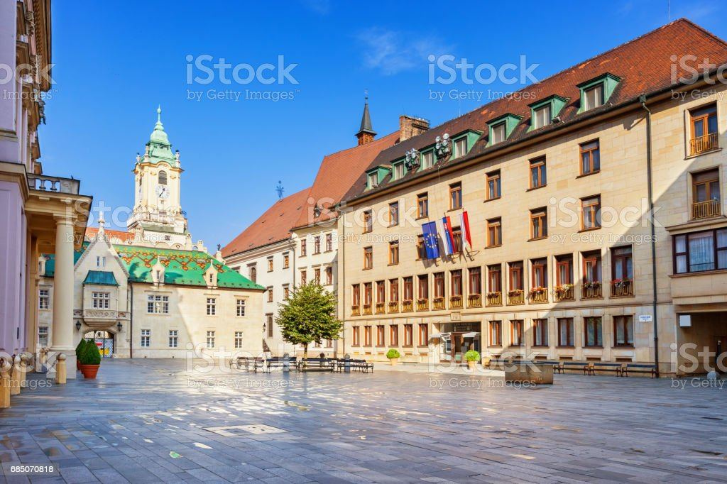 Old and new town halls in old town Bratislava Slovakia royalty-free stock photo