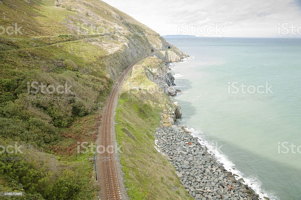 old and new tunnels on coastal railway Wicklow Ireland stock photo