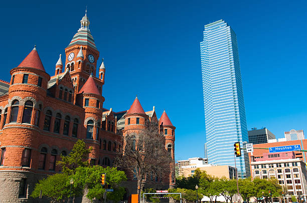 Old and New: Two Dallas Landmarks stock photo