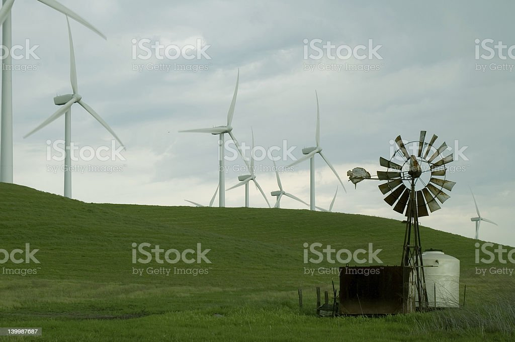 Old and New Windmills royalty-free stock photo