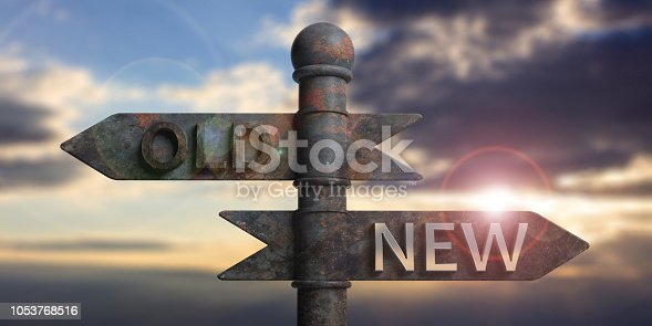Old and new written on signposts isolated on sky at sunset or sunrise background. 3d illustration