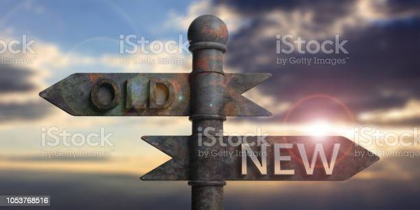 Old and new written on signposts isolated on sunset background 3d picture id1053768516?b=1&k=6&m=1053768516&s=612x612&h=knbwmqp90g0o7a00i4gcv4anjmpqm6yku3x5hr0oljc=