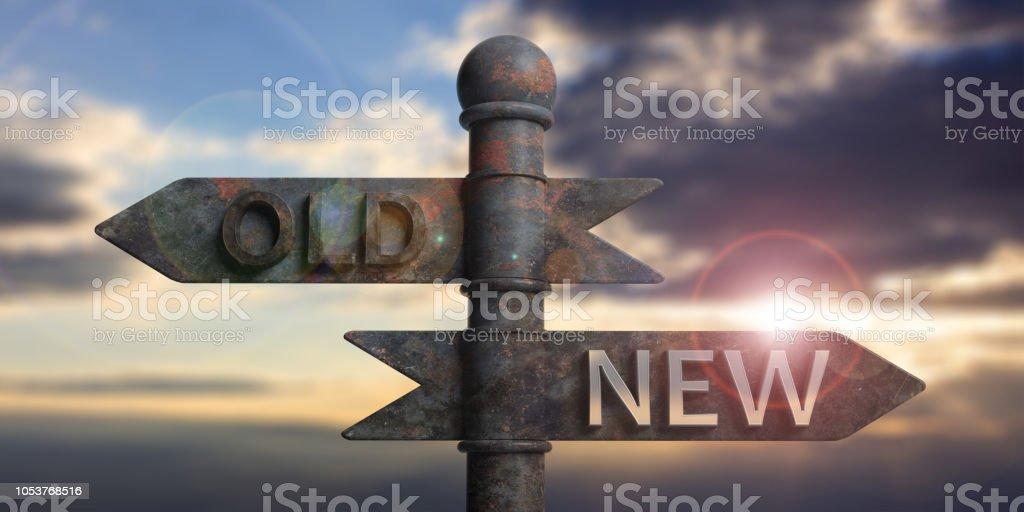 Alte und neue geschrieben am Wegweiser auf Sonnenuntergang hintergrund isoliert. 3D illustration – Foto