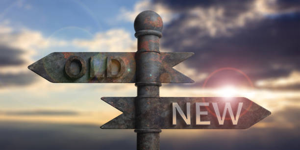 old and new written on signposts isolated on sunset background. 3d illustration - new stock photos and pictures