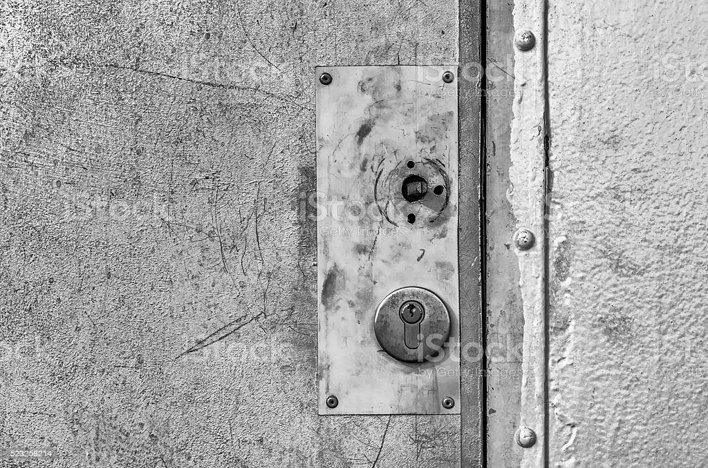 Old and not functioning door locks stock photo