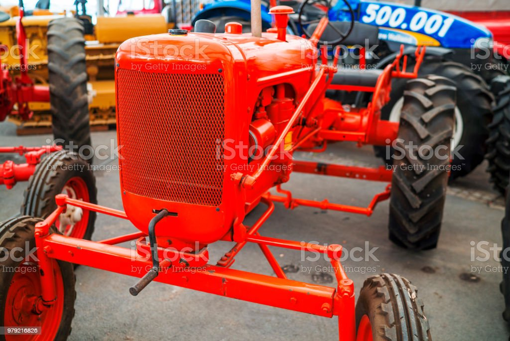 old and retro tractor stock photo