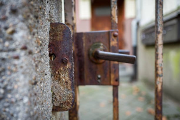 Old and rusty gate in Frankfurt stock photo