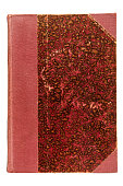 istock Old and scratched red marbled book cover 1081939104
