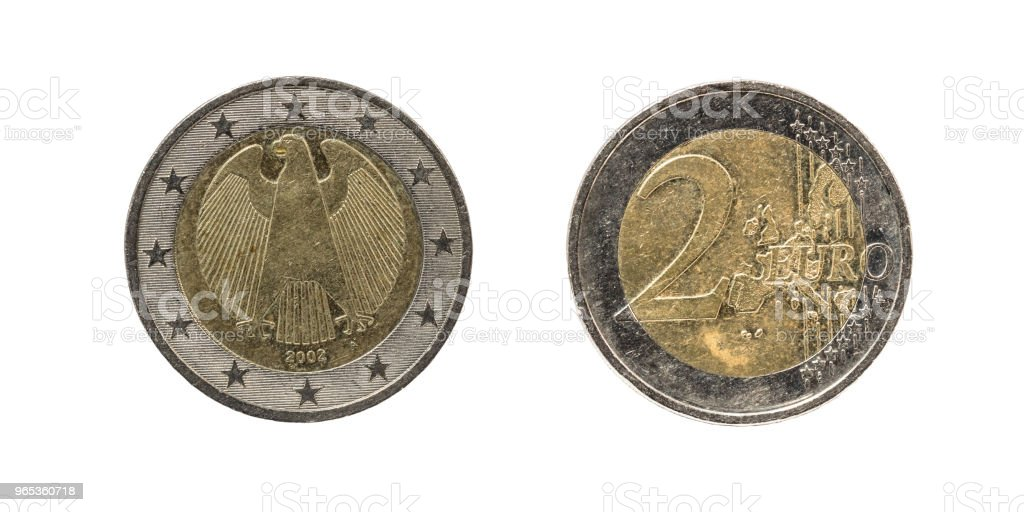 Old and used 2 Euro coin zbiór zdjęć royalty-free