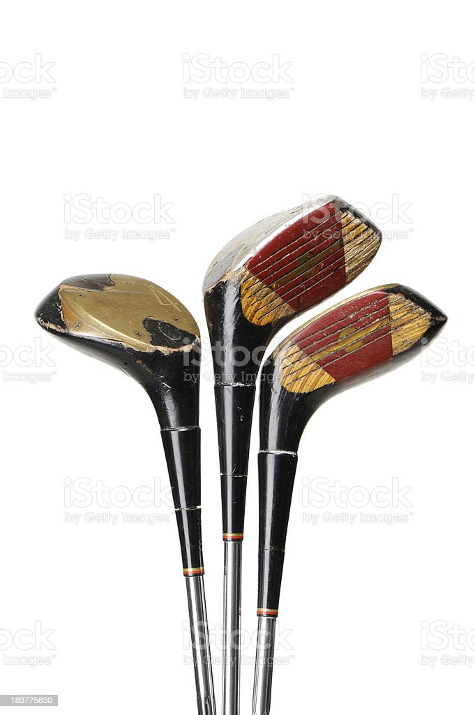 Old and used golf clubs royalty-free stock photo