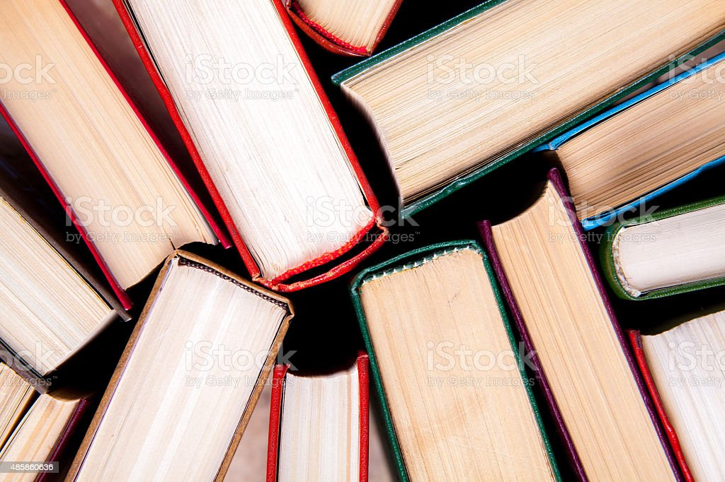 Old and used hardback books stock photo