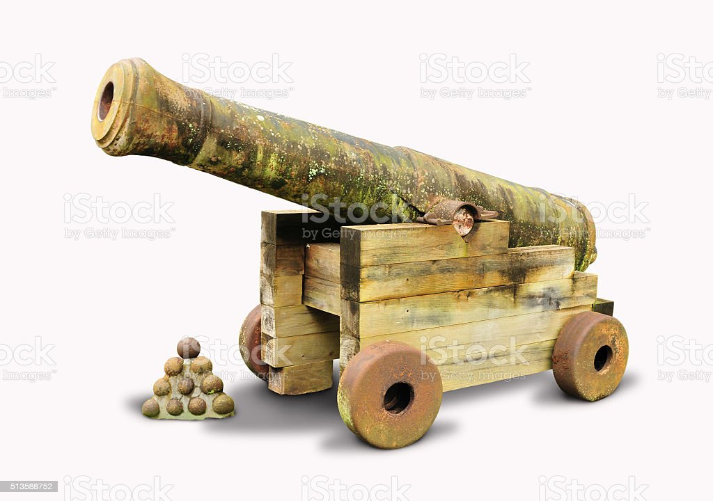 Old and vintage cannon stock photo