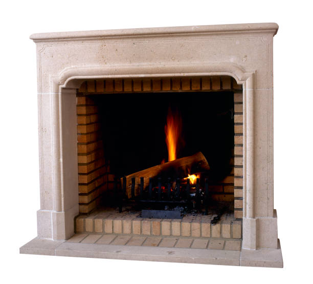 Old and vintage Marble fireplace in action stock photo