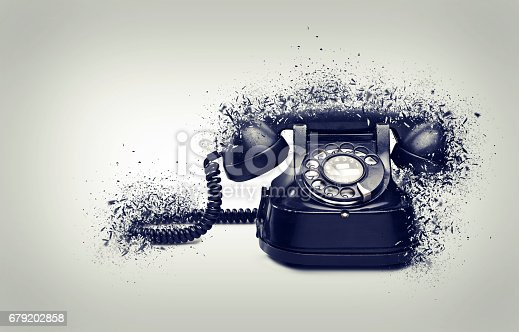 istock Old and vintage telephone shattered 679202858