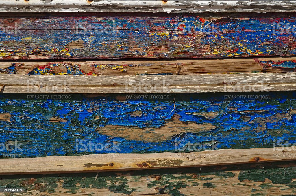 Old and washed out boat hull stock photo