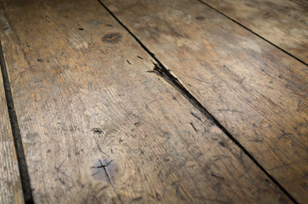 Old and Worn Victorian Wooden Floorboards stock photo