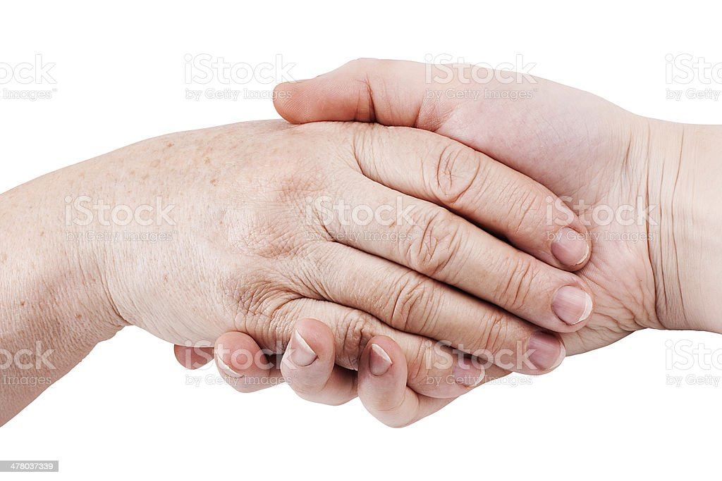Old and young hand, isolated on white royalty-free stock photo