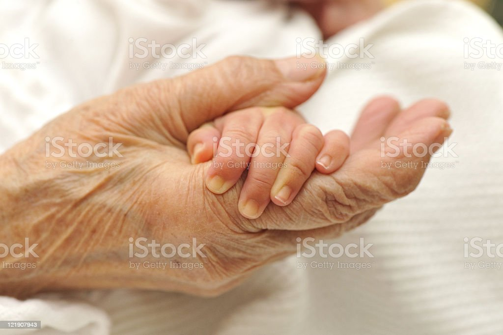 old and young hand royalty-free stock photo