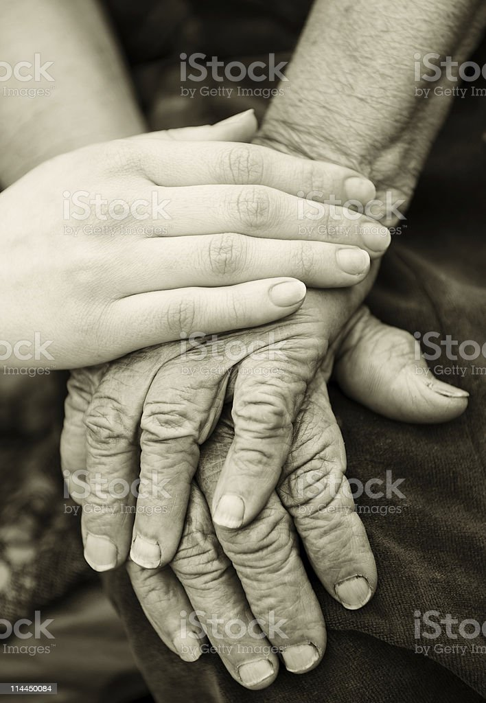 Old and young hands royalty-free stock photo
