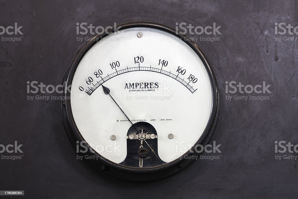 Old Antique Amperes Meter stock photo