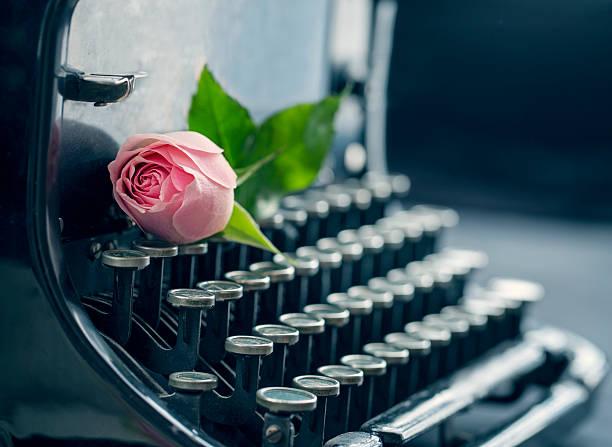 Old antique black vintage typewriter stock photo