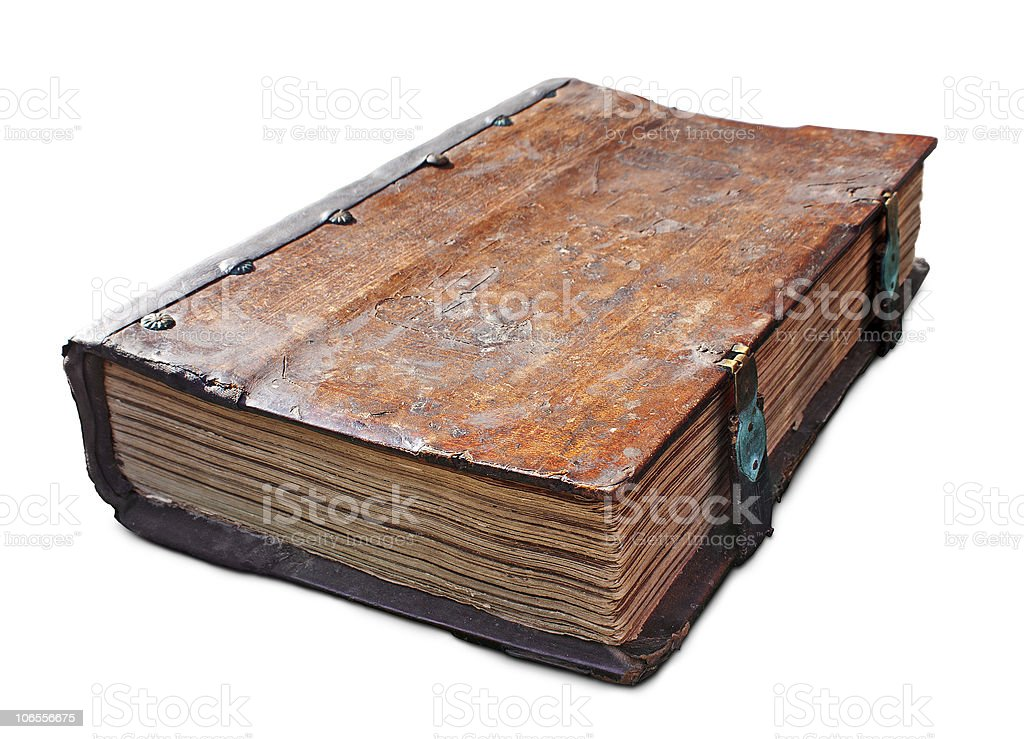 Old antique book with clasp stock photo